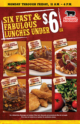 Sirloin Stockade 6 Lunches under 6 Dollars