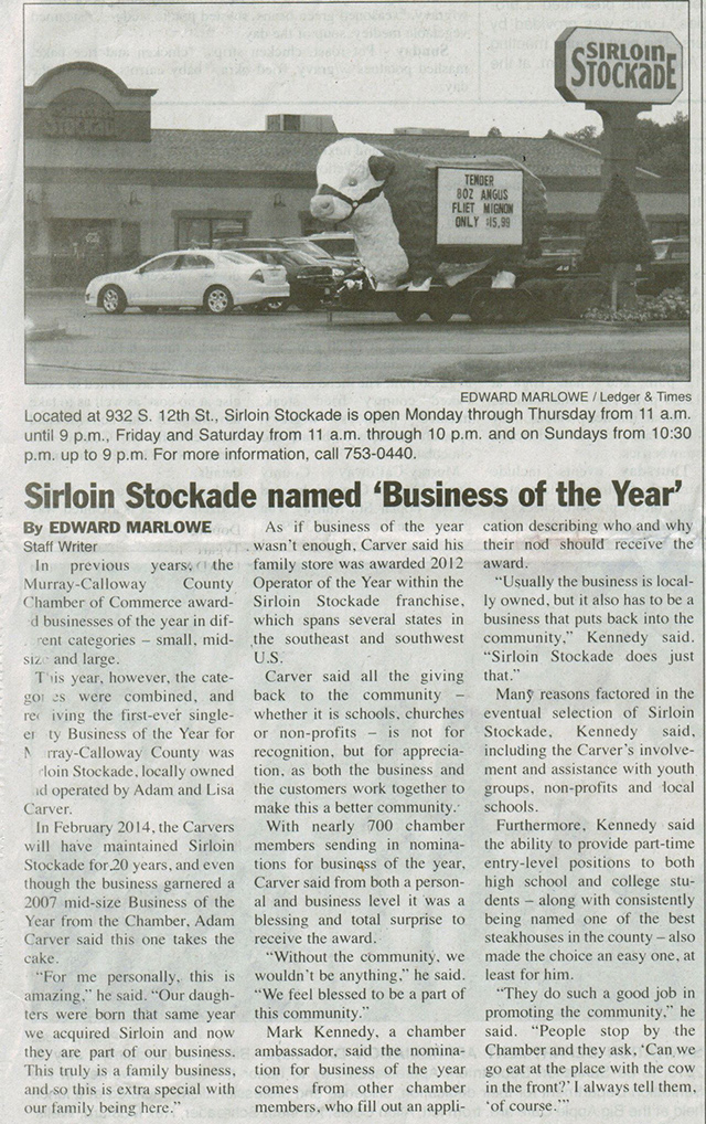 News Article: 2012 Business of the Year Award