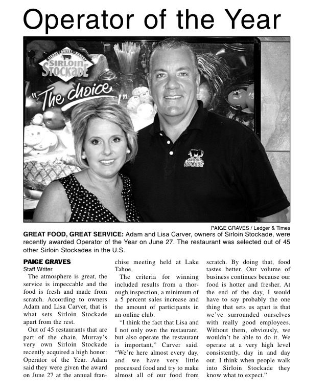 News Article: 2012 Operator of the Year